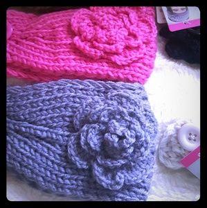 Flower knitted headband